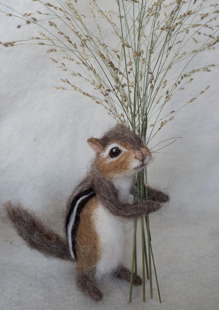 Chipmunk by needle felt artist Claudia Marie More