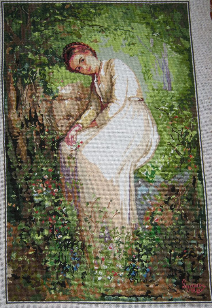 Goblen - O floare intre flori Needlepoint - A Flower Among Flowers (Romanian painter Nicolae Grigorescu)