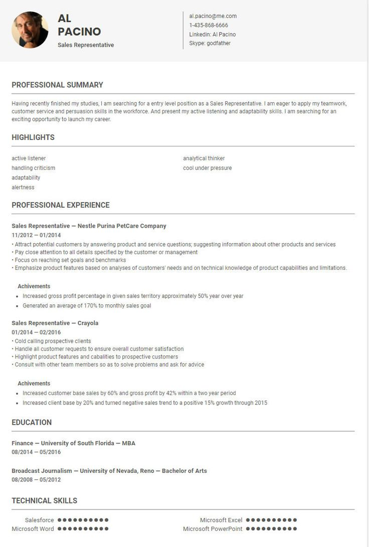 Sales Representative resume sample/ template conducted by skillroads: https://skillroads.com/sample/sales-representative