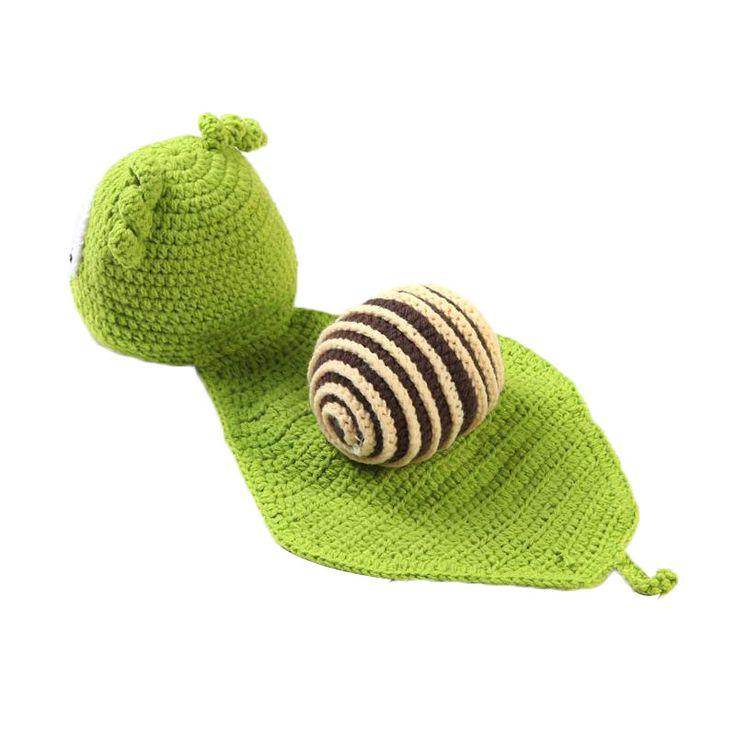Малыш младенческой мальчиков / девочек новорожденный фотография фотография опоры костюм опора улитка крышки вязания крючком шапочка экипировка зеленый