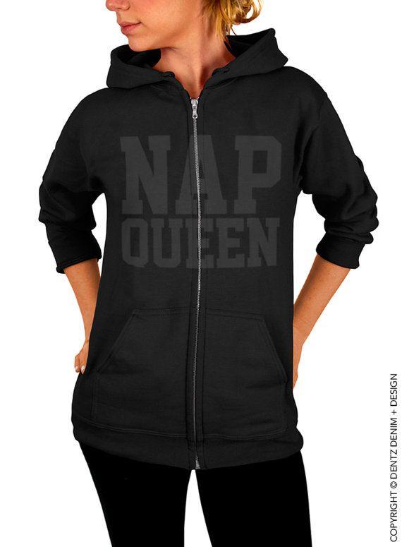 """Use coupon code """"pinterest"""" Nap Queen Zip Up Hoodie - Black with Black Zip Up Hoodie - Hooded Sweatshirt by DentzDenim"""