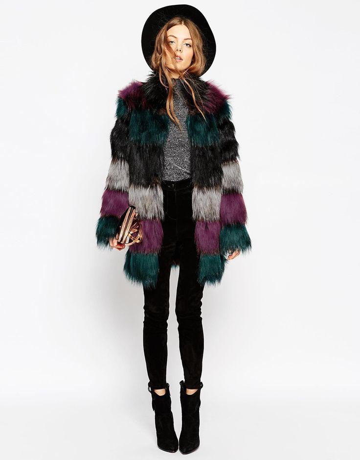 Image 4 of ASOS Coat in Longline Chunky Pelt Faux Fur
