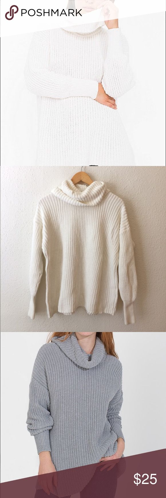 Oversized Cowl Neck Knit Sweater Super comfy and adorable, one size fits all cream oversized sweater from American Apparel 🇺🇸🇺🇸🇺🇸⭐️⭐️ gorgeous with jeans and some heels or boots in the winter. Worn only a few times and has been washed and air dried. No lowballing please! American Apparel Sweaters Cowl & Turtlenecks