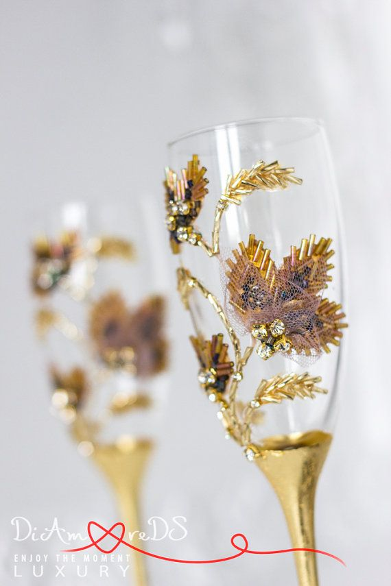 Items Similar To Champagne Flutes Full Wedding Toasting Gles Gold And Bronze Crystal 2 Pcs On Etsy