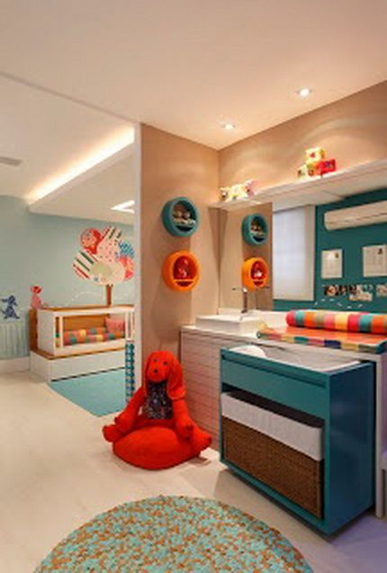 Decked Out Babys Room - love the dark teal and orange