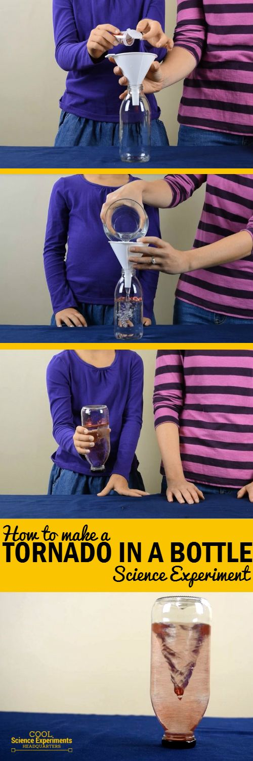 No fancy tornado tube connector needed. Just a bottle, some water and a lot of quick shaking. Bonus: Not only is the experiment fun, but you'll get a good arm workout doing it as well! #CoolScienceHQ #ScienceExperiments #Science