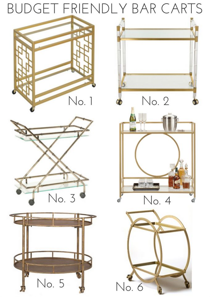 A round up of budget friendly bar carts perfect for holiday gatherings.