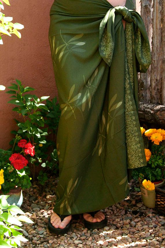 Sarong Olive Dragonfly Hand-Dyed Batik Summer Beach Wrap Skirt or Dress Clothing…