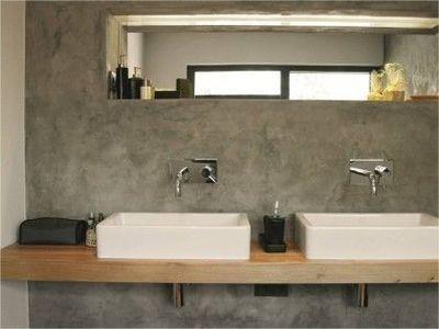Timber vanity on concrete wall - bathroom design