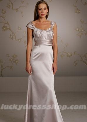 Silver A-Line/Princess Long/Floor-length Satin Bridesmaid Dress