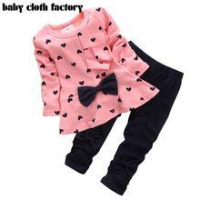 2016 nova Roupa Do Bebé que Set Heart-shaped Impressão Arco Bonito 2 PCS Conjunto de pano Crianças Pano Terno Top T camisa + Calça Alta qualidade(China (Mainland))