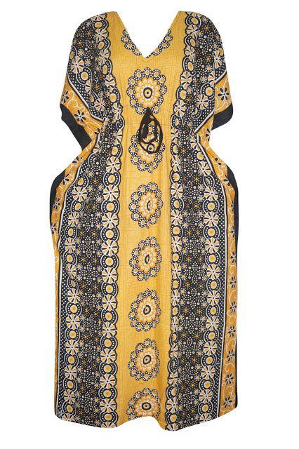 Bohemian Style Clothing : Indian Bohemian Ethnic House Dress Kaftan