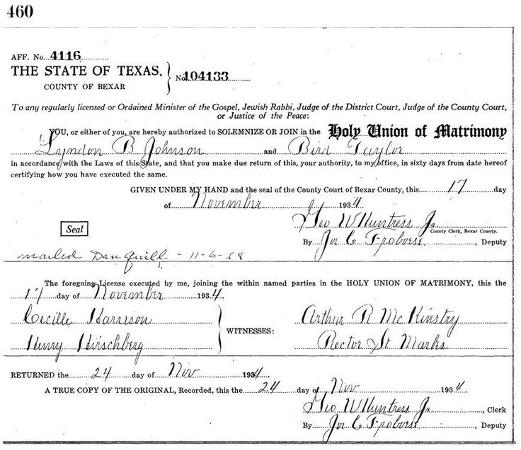 Lyndon And Lady Bird Johnson Marriage License Records Of