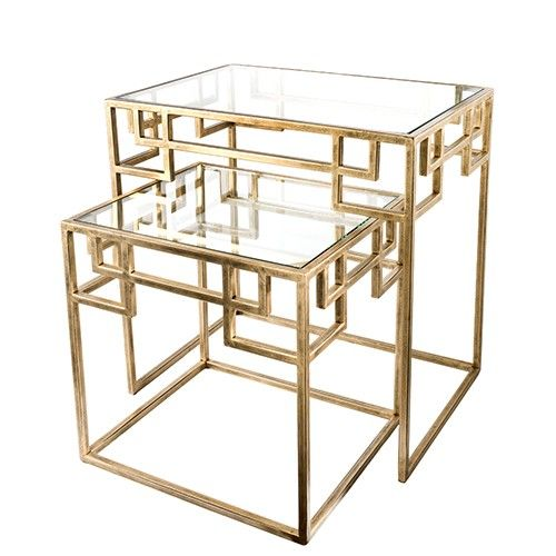 Sofia Nested Side Tables - Set of 2 - Antique Brass - Creative Co-Op 309+68
