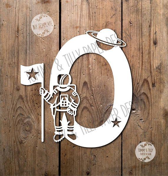 Astronaut Letter 'O' SVG PDF Design Papercutting