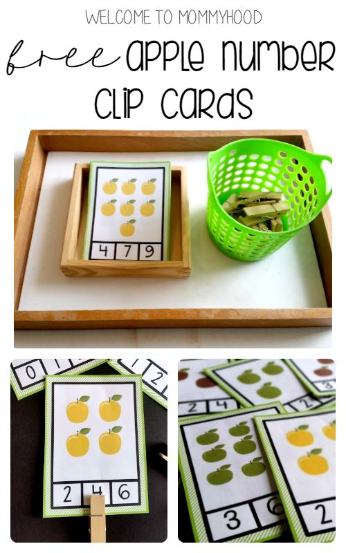 Free apple number clip cards for preschoolers by Welcome to Mommyhood