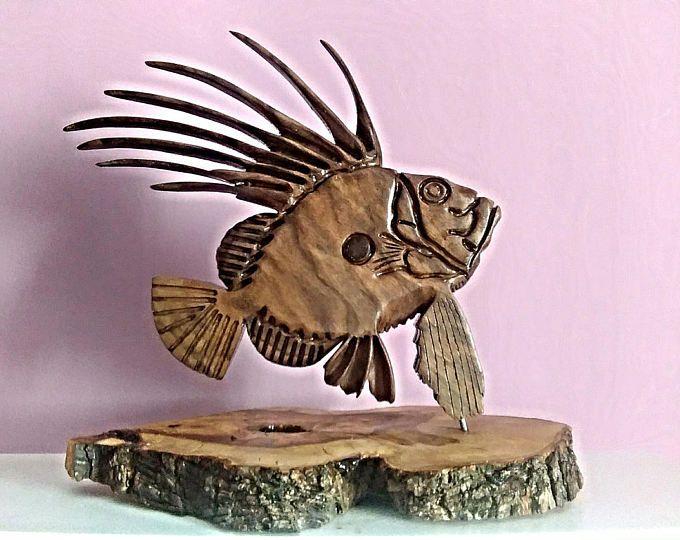 Escultura de peces gallo, Saint Peter Fish, peces, pescado tallado, regalo de pescador, regalo de pesca, peces de madera, talla en madera, escultura en madera.