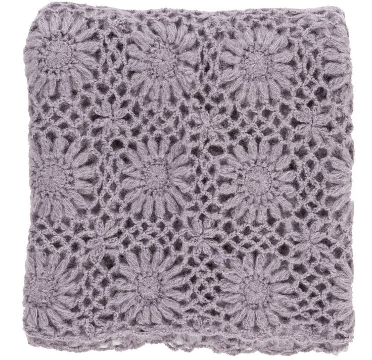 Lavender Fleur Crochet Knit Throw Blanket