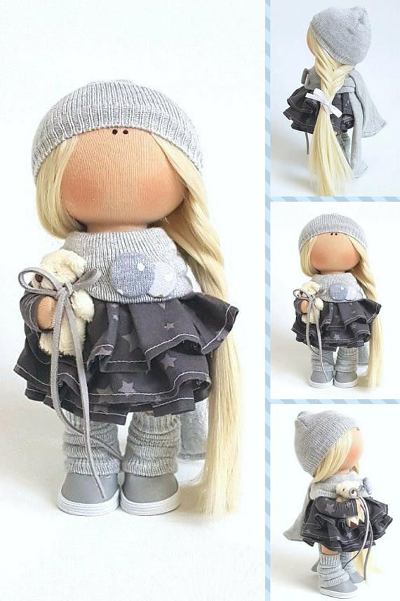 Bambole Textile Doll Tilda Doll Handmade Doll Muñecas Gray