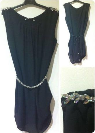 Vestido negro con decoración en hombros | Silvia SolerSilvia Soler