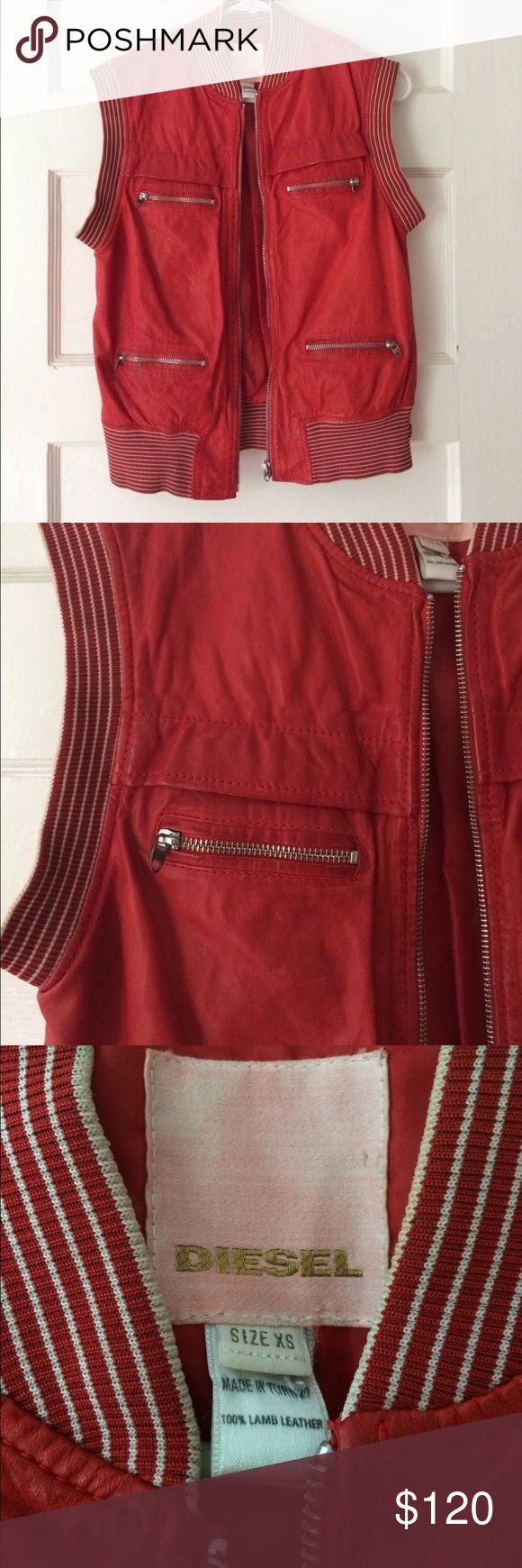 Vintage Diesel red motorcycle Leather vest 100% lamb leather Diesel Jackets & Coats Vests