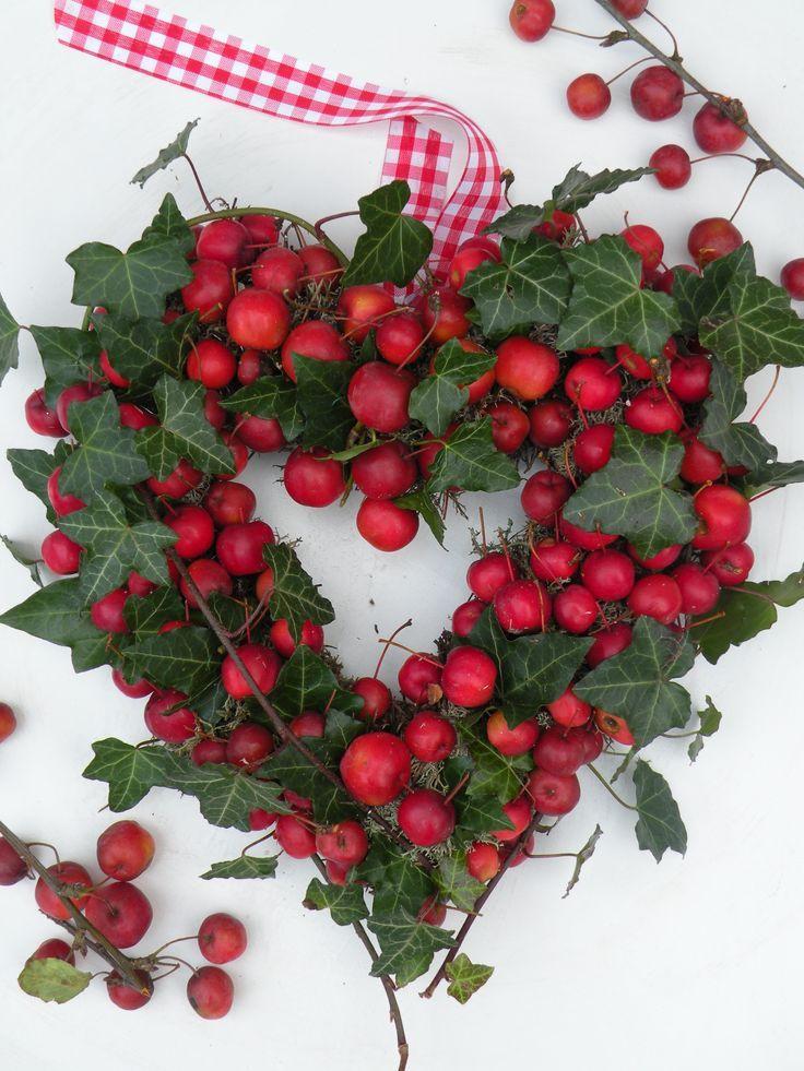 edera e piccole mele rosse.Bello, non solo a natale