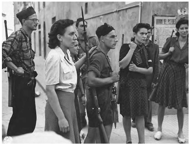 Italian resistance fighters who helped South African troops in Pistoia locate German snipers.
