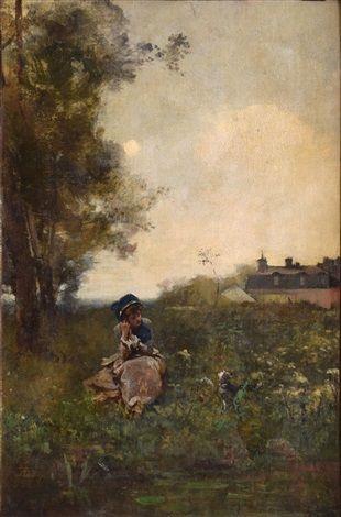 """""""Femme au bord de l'eau"""" von Ferdinand Heilbuth (geboren am 27. Juni 1826 in Hamburg, gestorben am 19. November 1889 in Paris), französischer Maler deutscher Herkunft."""