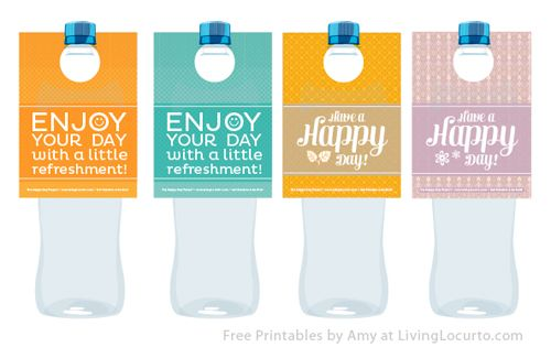 Free #Printable Water Bottle Labels. Make someone happy with a Random Act of Kindness.  Designed by Amy Locurto at LivingLocurto.com