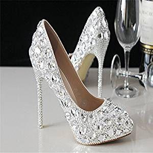 XieShiJie-hlx Diamante manuale/scarpe/cristallo argento tacchi a spillo a/punta scarpe/scarpe/da sposa scarpe , white , 38