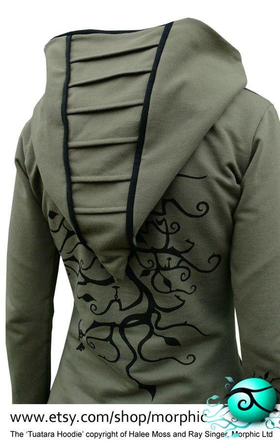 Womens Zip Hoodie, 'Deeper', Khaki/Black, Tree of Treasure Print