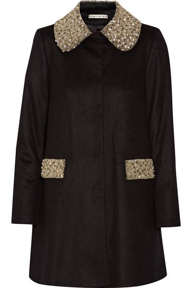 ALICE AND OLIVIA Iris embellished wool and cashmere-blend coat. #aliceandolivia #cloth #coats