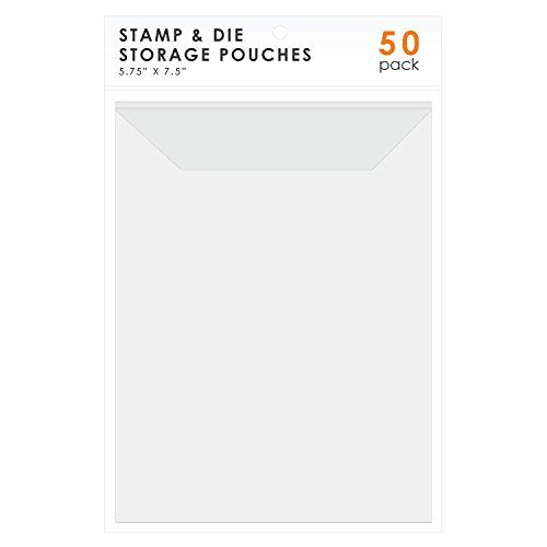 """LINKYO Stamp and Die Storage, 50-Pack  Each Clear Plastic Pouch measures 5.75"""" by 7.5""""  Perfect for storing your stamp and die sets, DVD artwork and discs, greeting cards, and more  Durable seams can withstand heavy use  Storage flap keeps contents secure  Compatible with all major stamp and die cut brands"""