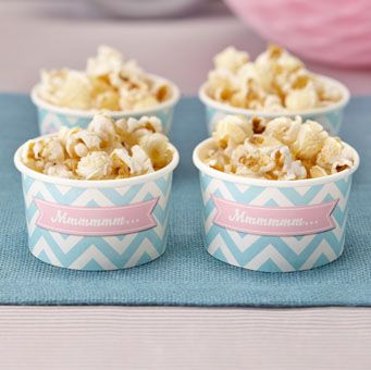 These treat tubs are perfect for candy bars, ice cream and small treats at your next party! Each tub is pastel mint green chevron with pink.
