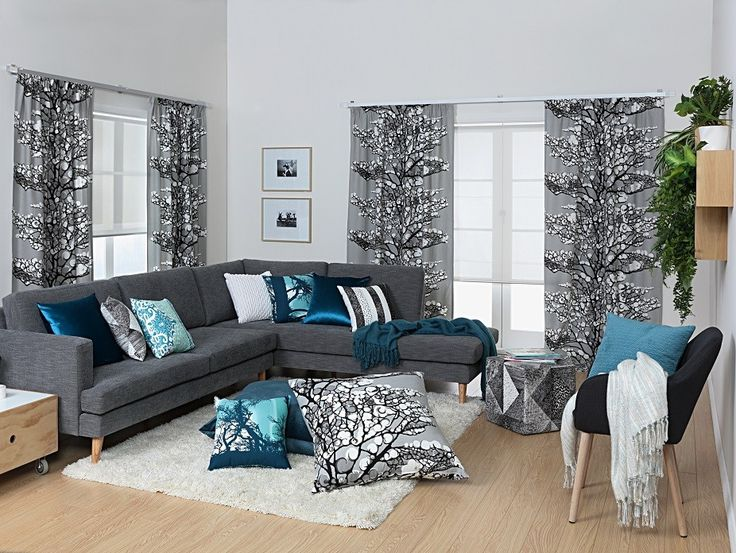 Lumi Fabric - This gorgeous snow-filled tree design is in a neutral grey that will easily coordinate with the rest of your decor. Designed by Vallila Interiors in Helsinki and exclusive in NZ to Harvey Furnishings.