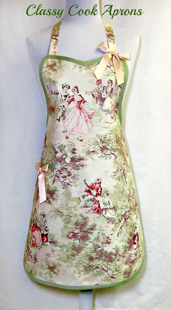 Apron TOILE in FRENCH GENERAL Vintage Inspired Pink & Green, by ClassyCookAprons