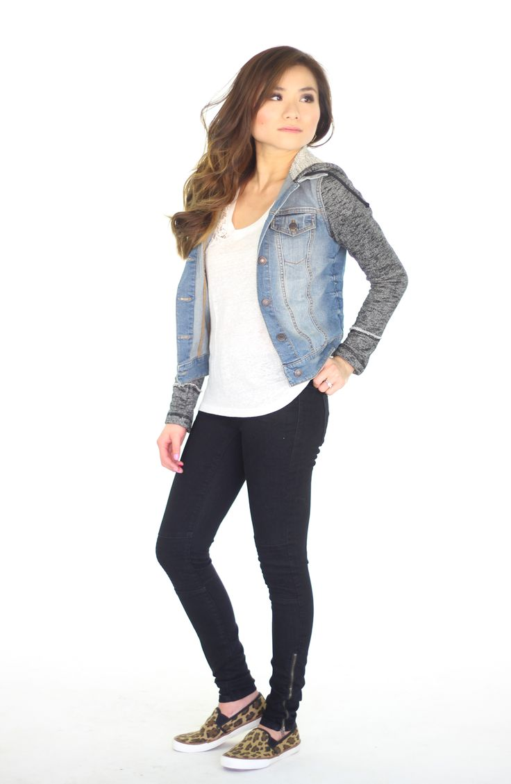 Casual weekend outfit = comfy jean jacket + moto jeggings + cheetah slip ons #denim #jacket # ...