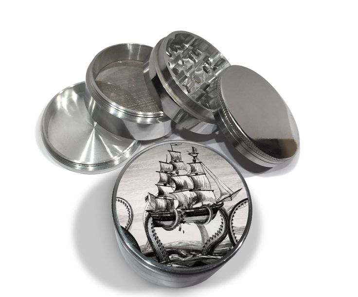 """Octopus The Kraken Attacks Pirate Ship 4 Piece Silver Aluminum or Titanium Metal Grinder 2.5"""" Wide Nautical Attack Diamond Cut Herb Grinders by Swagstr on Etsy"""