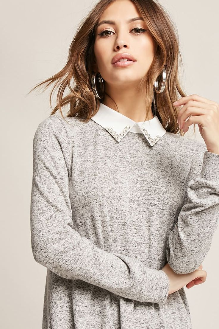Product Name:Collared Sweater-Knit Top, Category:CLEARANCE_ZERO, Price:35