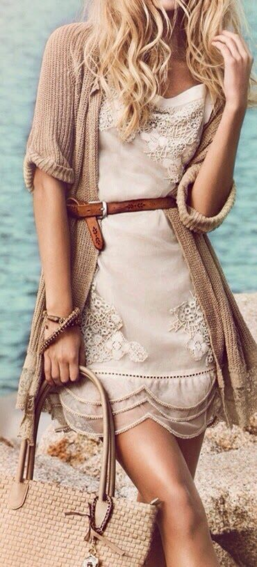 Spring 2015 Arrivals  - Oversized Cardigan With Light Weight Chiffon Dress Fashion Looks