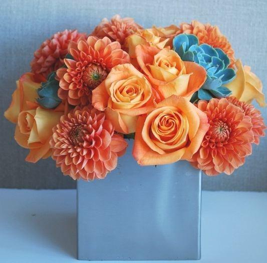Orange Flower Arrangements For Weddings: 72 Best Orange And Teal Wedding Flowers Images On Pinterest