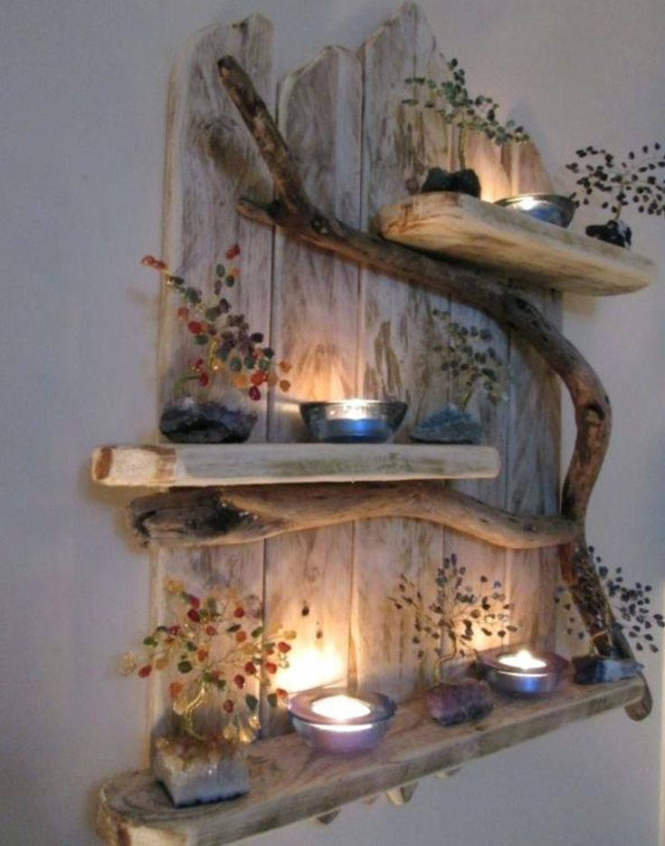 pallet and driftwood shelves; decorate with dried flowers, candles, etc. for a w
