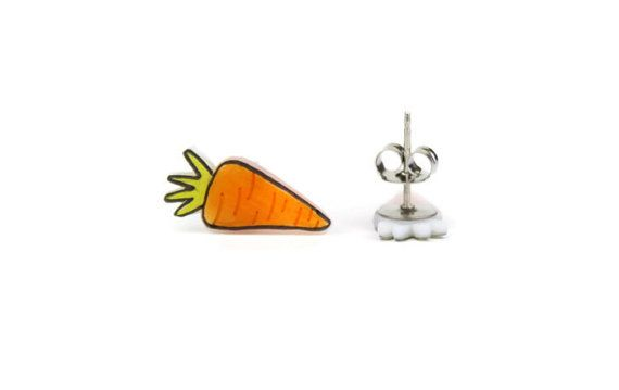 cute carrot earrings for Easter and always, nice and bright and fun. Cute Carrot Earrings Shrink Plastic Surgical Steel by TotalRuckus