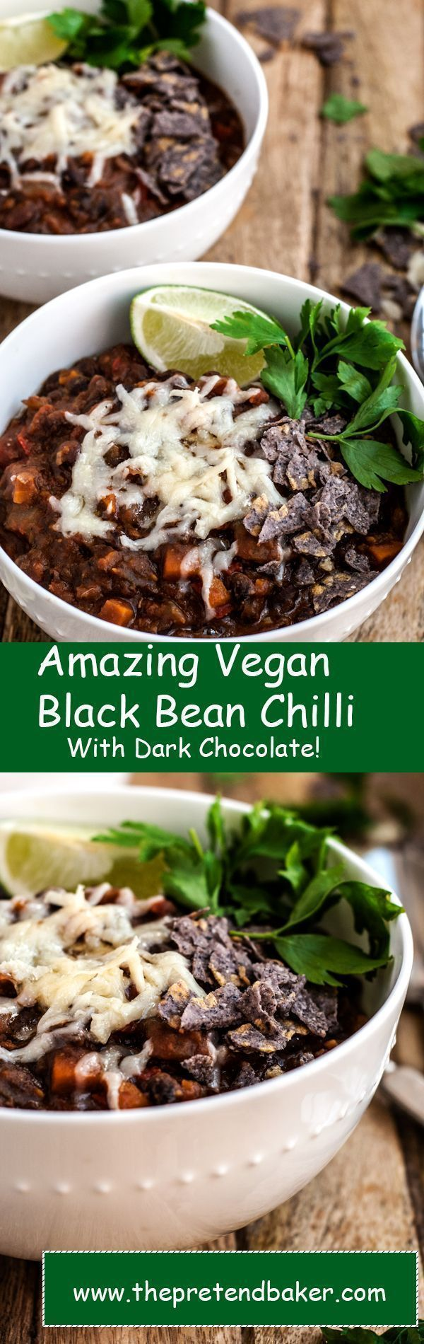 recipe for the best vegan black bean chilli with Chocolate