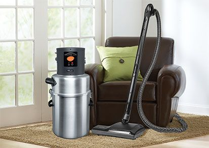 The CentraLux central vacuum cleaner by Aerus!  Installed in either a basement or garage, the main power unit is linked to inlets in each room. Dirt and debris are carried out of the home to the main unit, unable to reenter your home's air. The canister contains a filter that captures 99.97% of pollutants as small as 0.3 microns, operating at HEPA standards.