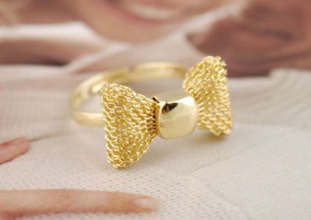 Bowknot gold adjutable ring