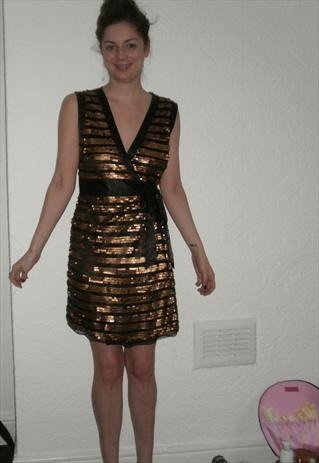 Gold sequin wrap dress