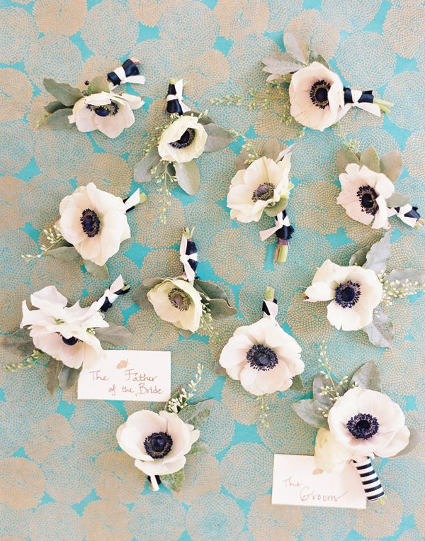black and white anemone boutonnieres | Nancy Ray