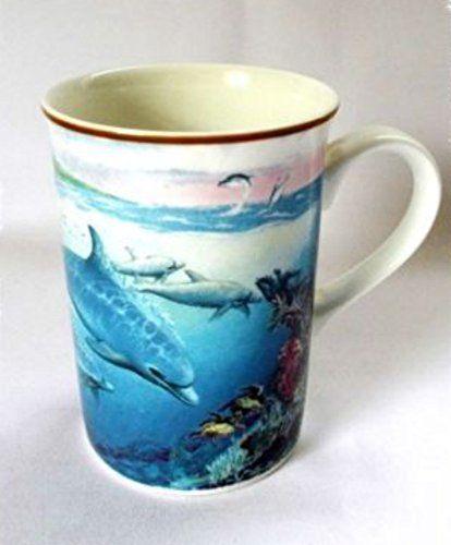 Sea World Mug Porpoise Dolphin Collectors Series Blue Royal Bone China Coffee Cup