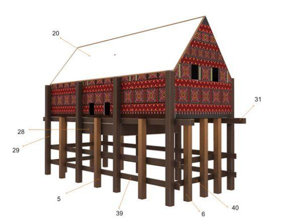 Toraja House Papercraft (Tongkonan)